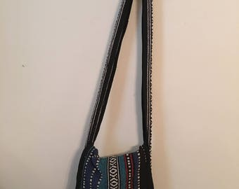 Crossbody Bag w/ Tassels- Blue & Black