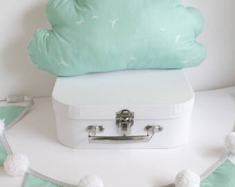 Mint and white Dragonfly print cloud cushion