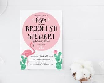 Fiesta Birthday Invitation, Flamingo birthday invitation girl, Cactus, kids birthday, third fourth fifth sixth birthday invitations