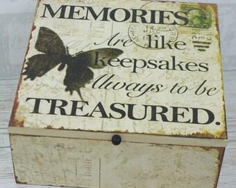 Wooden Memory Box Keepsake Chest Butterfly Treasured Memories Men Ladies Kids SG1228 W42