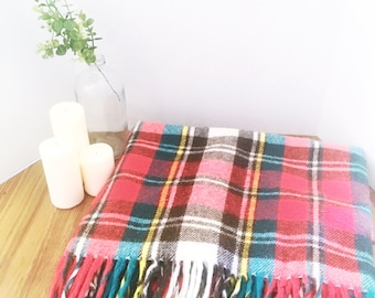 Vintage Plaid Blanket - Red, Green, Brown, White and Yellow