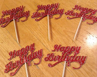 Happy Birthday Red Glitter Cupcake Toppers