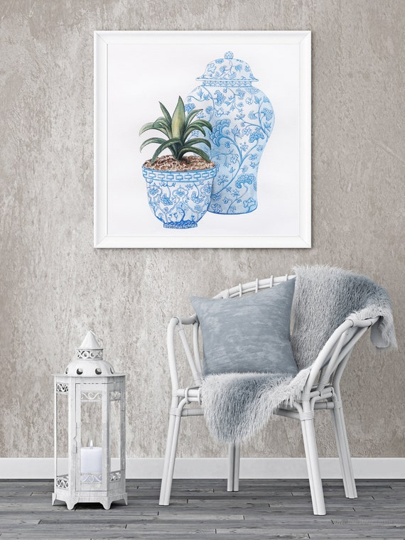 Blue and White Oriental Ceramics Wall Art Print from an original watercolour painting by Corinne Dany / ceramics / blue and white / oriental