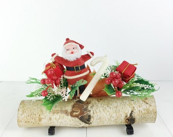 Vintage Christmas Birch Yule Log Santa Poinsettia Candy Cane Decoration