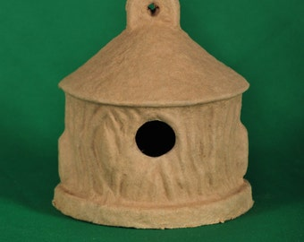 Small Paper Mache Birdhouse by BARE NAKED CRAFTS