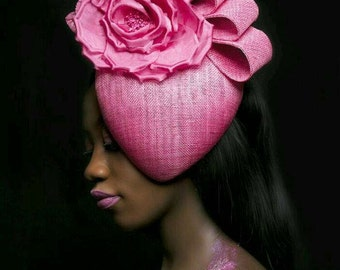 50% off Handmade Pink teardrop fascinator with large pink flowers and sinamay loops