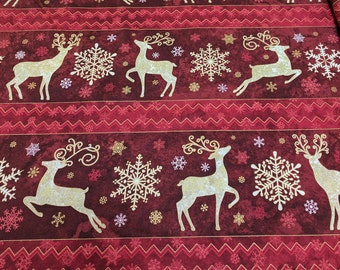 Reindeer Prance-Red Reindeer Cotton Fabric by Northcott