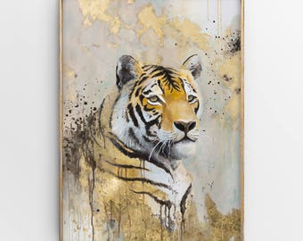 Tiger Painting with Gold Leaf, Original Large Mixed Media Animal Artwork