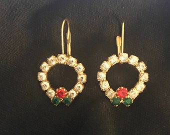 Vintage Wreath Earrings, Gold Tone Wire, Green, Red, White Rhinestones