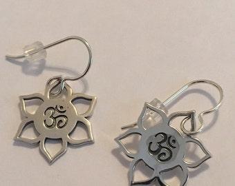 Sterling Silver OM Lotus Flower Earrings