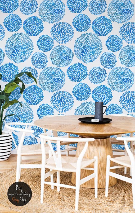 japanische blumen muster kreise blaue tapete subtile 71. Black Bedroom Furniture Sets. Home Design Ideas