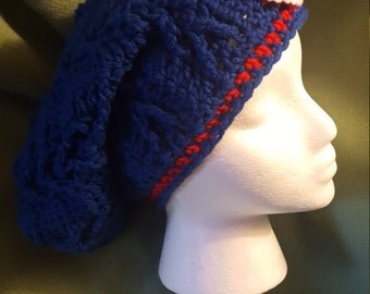 Chicago Cubs Crochet Open Slouchy Hat for Ponytails