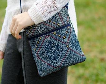 Cross Body Bag Pattern - Blue/Grey - Cloth Purse - Crossbody Purse - Small Cloth Handbag - Clutch Bag - Small Purse - Wristlet
