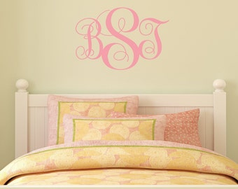 Small Monogram Initials decal - wall vinyl decal, home decor, vinyl sticker, wall art, vinyl lettering, bedroom vinyl