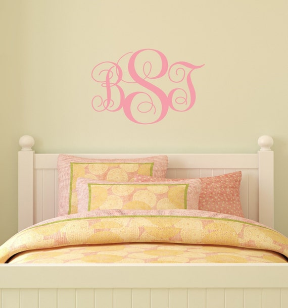 Small Monogram Initials decal wall vinyl decal home decor