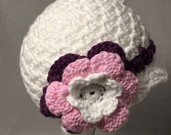 Crochet Baby Sun Hat, white with pink and purple accents and flower