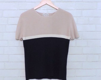 Cozy Vintage Short-Sleeved Color-Block Knitted Sweater