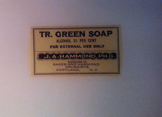 Antique Pharmacy Label -Tr. Green Soap Label, Green Soap Apothecary Label, Vintage Pharmacy Label, J. A. Hammond Label  ***Free Shipping***