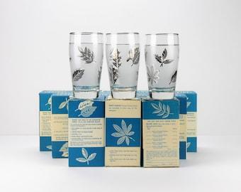 Libbey Frosted Silver Leaf Tumbler Set - 1960s Vintage - 9 NOS & 3 open - Duz detergent promo 12oz glasses - Mid century - in EX/M cond