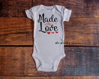 Made with Love infant boy bodysuit, baby boy bodysuit, valentines day outfit, baby shirt, newborn outfit, made with love, valentine tshirt