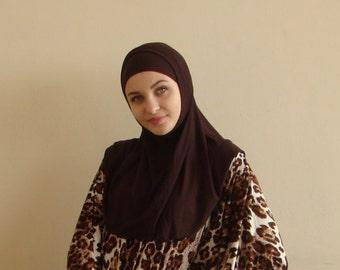 Chocolate Hijab Two Piece,Al Amira style,  Brown Hijab, Scarf handmade, viscose hijab, prayer scarf, islamic scarf, eid gift ideas, burqa