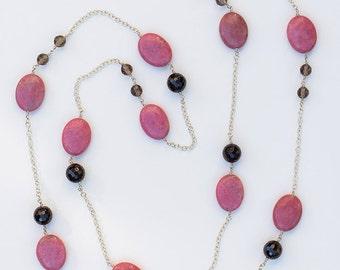 Rhodonite, garnet and smoky quartz long necklace N108