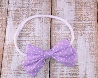 Polka Dot Bow, Lavender Bow, Hair Clip, Nylon Headband, Spring Headband, Easter Headband, Newborn Headband, Toddler Headband, Girls Headband