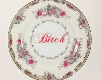 """B*TCH Vintage Occupied Japan Corsage Grace Bread/Dessert Plate, pink/grey/ivory white 6 1/4""""  CUSTOMIZABLE"""