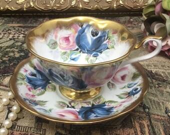 "Royal Albert summer bounty "" Sapphire"" teacup and saucer."
