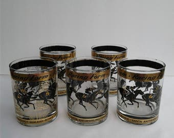 Vintage Culver Like Post Time Highball Glasses of Horses & Racing Forms 22K Gold High Low Glass Race Horse Barware  Mid Century Modern