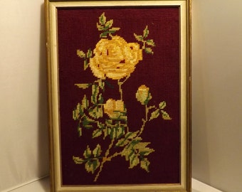 Vintage French framed tapestry/flowers / framed wooden