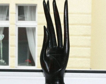 Wooden hand, hand, display, hand carved, black hand 30 cm