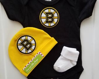 Boston bruins baby outfit-Boston bruins newborn-bruins baby-baby boston bruins-bruins newborn/boston bruin baby shower gift/baby bruins