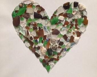Sea Glass Heart Art