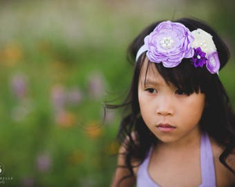 Girls Lace Headband, Girls Flower Headband, Floral Headband, Shabby Chic, Vintage Inspired, Flower Girl Headband, Rosette Headband