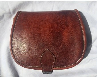 Bag satchel satchel shoulder 100% leather color Brown copper - Vintage style leather handbag.
