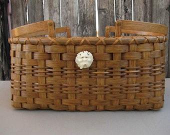 Handmade Reed Basket With 2 Carved Antler Spirit Faces, Oak Swing Handled Picnic Basket,OOAK