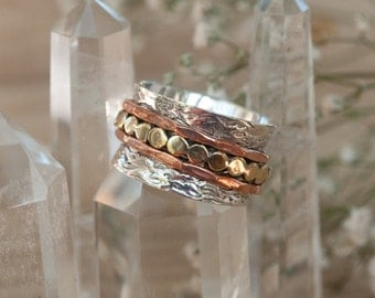 Spinner Ring * Meditation Ring* Spinning Ring * Spin * Anxiety* Sterling Silver* Copper*Bronze * Jewelry *Bycila * Hammered * Concave BJS016