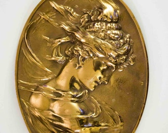 Antique Bradley and Hubbard art Nouveau lady brass bust sculpture wall plaque. Numbered 1820