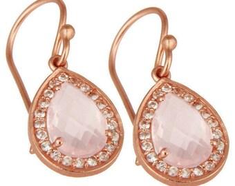 Amica Earrings | Rose Quartz | White Topaz | Rose Gold | Sterling Silver