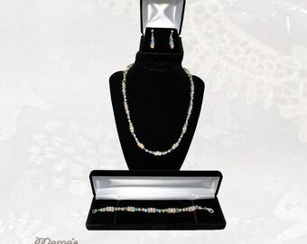 Crystal Peach and Blue Swarovski Necklace SET, Transparent, Blue, Purple, Sparkly, Glittery, Wedding, Gift, Bride, Ocean, Sea