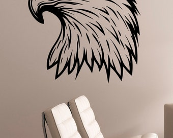 Bald Eagle Head Wall Decal Removable Vinyl Sticker Bird of Prey Art Decorations for Home Living Kids Room Bedroom Office Animal Decor egl11