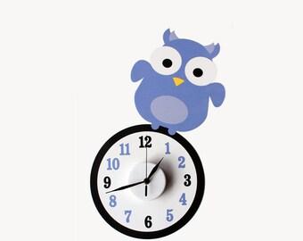 Ollie the owl wall decal clock || owl clock || animal wall decal || nursery wall art || owl sticker || baby shower gift || wall decal