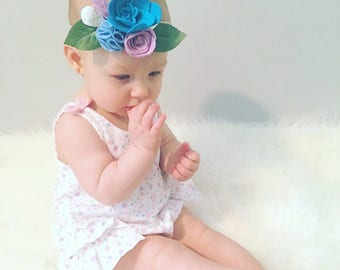 Blue & Lavender Felt Flower Headband - Mommy and Me - Flower Crown - Flower Headband - Baby Headband - Fascinator headband - baby gift