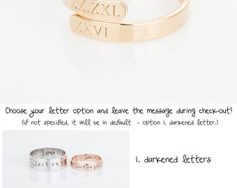 Personalized Wrap Twist Ring, Dainty Roman numeral Open Band Ring, Personalized Stacking Ring, Adjustable Ring, Simple Date Ring