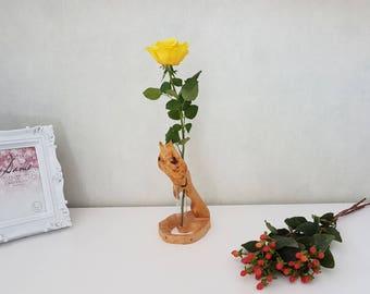 Flower vase - wood - Birch - oak - grain