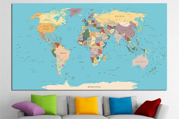 Push Pin World Map Canvas Print World Map Wall Art Set World