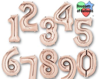 Big 34 Inch Rose Gold Number Balloons - Any Number 0, 1, 2, 3, 4, 5, 6, 7, 8, 9, 21, 40, - Birthday Age Balloons - Numbers - Number Balloons