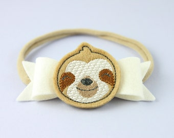 Sloth Headband | Cute Newborn Headband | Baby Girl Headband | Sloth Feltie | Sloth Accessory | Handmade Baby Hair Accessory