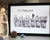 San Francisco A4 Print // San Fran Illustration // San Fransicso Skyline // A4 Illustration // American Illustration // San Francisco Art